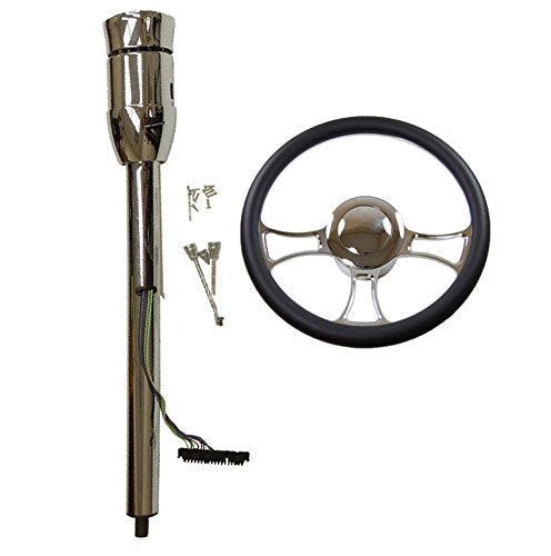 "14"" Chrome Steering Wheel &Manual Steering Column 28"" GM No Key&Horn Button"