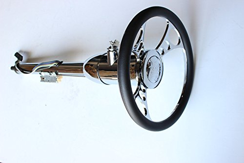 "14"" Billet Nine Hole Steering Wheel& Manual Style Steering Column28"" GM With Key&Horn Button"