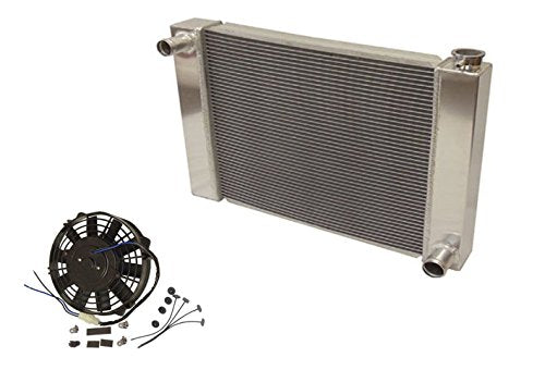 "Fabricated Aluminum Radiator 31"" x 19"" x3"" Overall For SBC BBC Chevy GM & Electric 9"" Straight Blade Reversible Cooling Radiator Fan"
