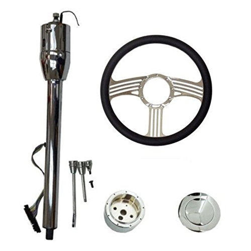 "14"" Blade Chrome Universal Style Steering Wheel & Manual Steering Column 28"" GM No Key&Horn Button"