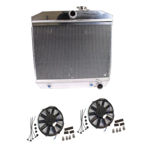 "For 55-57 Chevy V8 3-Row/Tri-Core Aluminum Radiator & 2 pcs 9"" Staight Blade Fan"