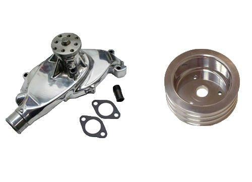 BBC Chevy 396 427 454 Short Chrome Aluminum Water Pump High Volume & Triple Groove Polished Crank Pulley