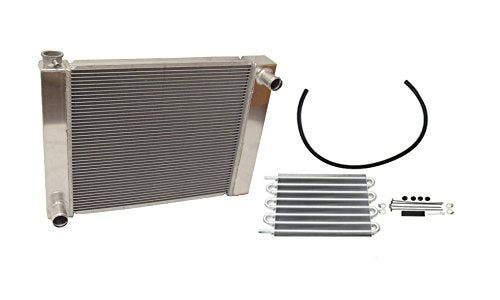"For Ford/Mopar Fabricated Aluminum Radiator 27.5"" x 19"" X 3"" Overall & Transmission Oil Cooler"