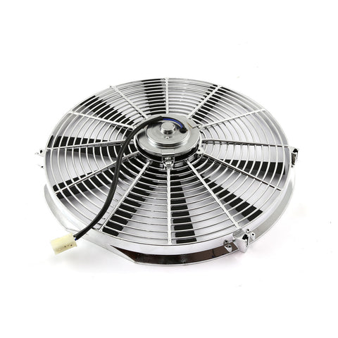 "Super Electric 12"" Chrome Straight Blade Reversible Cooling Fan 1577 CFM 12v"