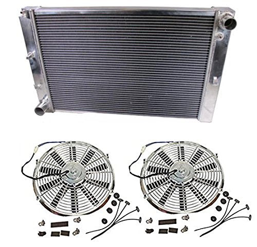 "2 Pcs 12"" Chrome Straight Blade Reversible Cooling Fan & A Triple Core Bolt-On Racing 3-Row Aluminum Radiator"