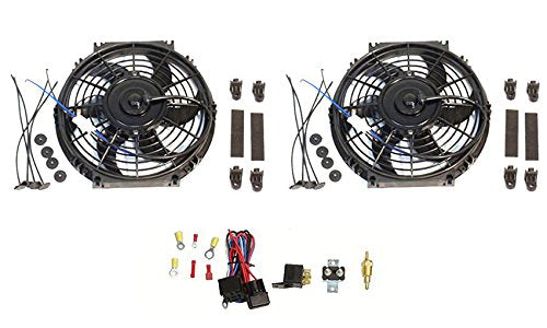 "2 Sets 10"" Electric Curved Blade Reversible radiator Cooling Fans 12V 80W 850 CFM with Thermostat Kit"