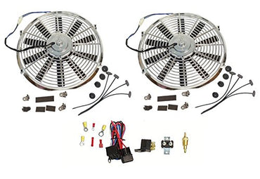 "2 Sets Super Electric 12"" chrome Straight Blade Reversible Cooling Fan 1400 CFM 12v with Thermostat Kit"