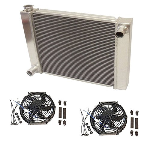 "Universal Ford / Mopar Fabricated Aluminum Radiator 31"" x 19"" x3"" Overall With 2pcs 10 Inch Electric Fan"