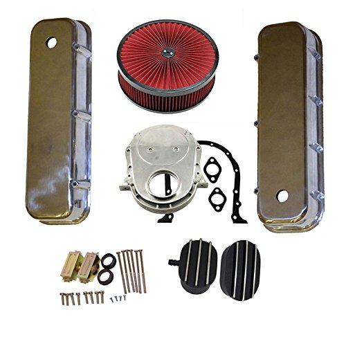 "BBC Engine Dress Up Kit Tall Valve Covers with Breather Caps&Timing Chain Cover Kit &14"" x 3""Air Filter Cleaner 65-90 454"