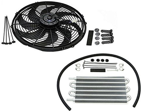 "16"" Heavy Duty Radiator Electric Wide Curved Blade Fan & 15-1/2"" x 7-1/2"" x 3/4"" Transmission Oil Cooler"
