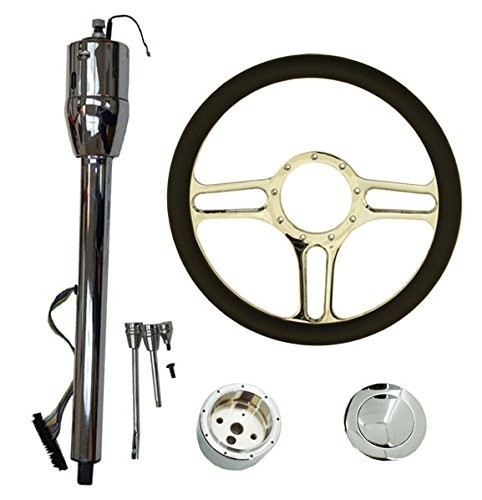 "14"" Chrome Billet (9 Hole) Steering Wheel & Manual Steering Column 32"" GM No Key & Horn Button"