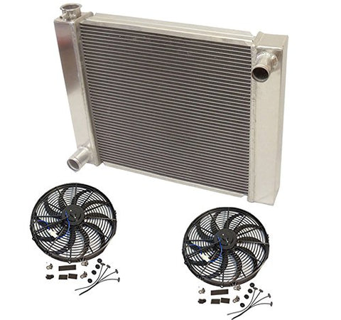 "Universal Ford / Mopar Fabricated Aluminum Radiator 28"" x 19"" x3"" Overall With 2pcs 12 Inch Electric Fan"