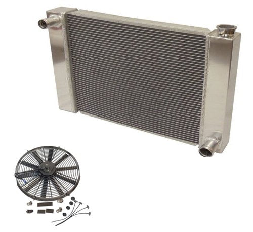 "Fabricated Aluminum Radiator 24"" x 19"" x 3"" Overall For SBC BBC Chevy GM&14"" Straight Blade Reversible Cooling Fan"