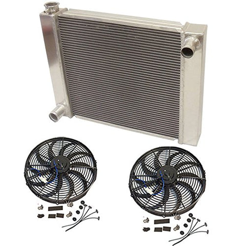 "Universal Ford/Mopar Fabricated Aluminum Radiator 27.5"" x 19"" X 3"" Overall With 2pcs 12 Inch Electric Fan"