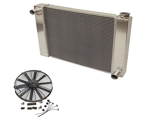 "Fabricated Aluminum Radiator 30"" x 19"" x3"" Overall For SBC BBC Chevy GM & 12"" Straight Blade Reversible Cooling Fan"