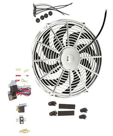 "14"" Chrome Curved Blade Reversible Cooling Fan 12v with Thermostat Kit"