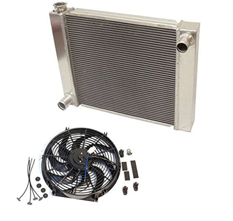 "Universal Ford/Mopar Fabricated Aluminum Radiator 27.5"" x 19"" X 3"" Overall With 14 Inch Electric Fan"