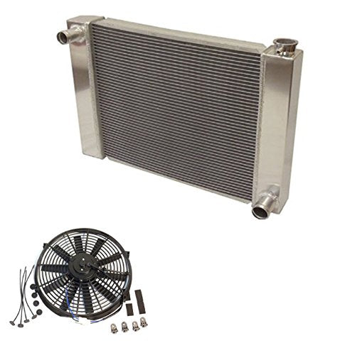 "Fabricated Aluminum Radiator 31"" x 19"" x3"" Overall For SBC BBC Chevy GM & 16"" Straight Blade Reversible Cooling radiator Fan"