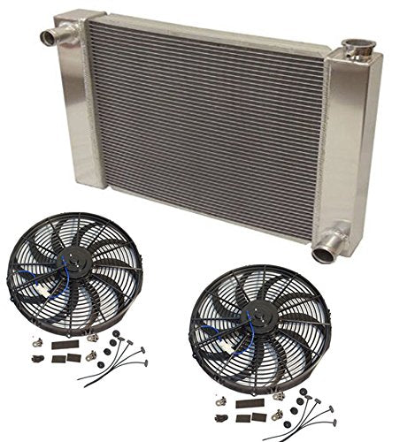 "31"" x 19"" x3"" Overall Radiator For SBC BBC Chevy GM With 2pcs 12 Inch Electric Fan"