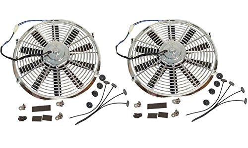 "2 Sets Super Electric 12"" chrome Straight Blade Reversible Cooling Fan 1400 CFM 12v"