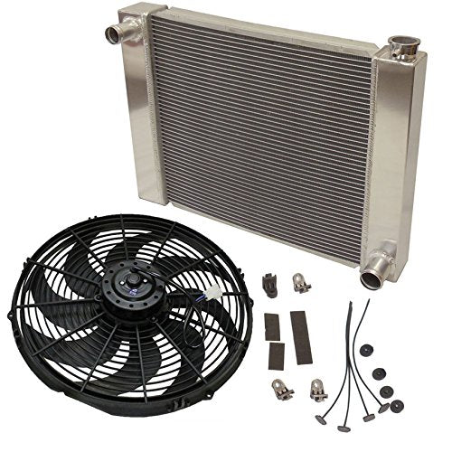 "Fabricated Aluminum Radiator 30"" x 19"" x3"" Overall For SBC BBC Chevy GM With 16 Inch Electric Fan"