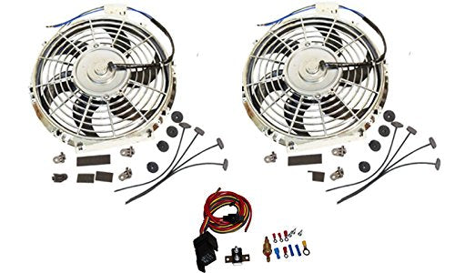 "2 Sets Electric 10"" Chrome Blade Reversible Cooling Fan 12v 80w 850cfm with Heavy Duty Mounting Kit"