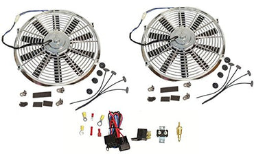 "2 Sets Electric 14"" Chrome Straight Blade Reversible Cooling Fan 12V 1900 CFM with Thermostat Kit"
