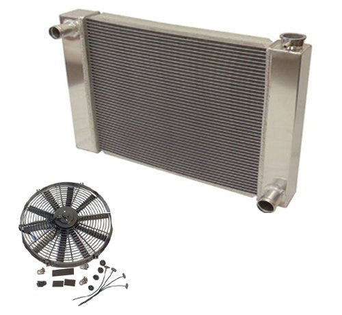 "Fabricated Aluminum Radiator 31"" x 19"" x3"" Overall For SBC BBC Chevy GM & 10"" straight blade cooling radiator fan"