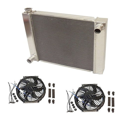 "Universal Ford/Mopar Fabricated Aluminum Radiator 27.5"" x 19"" X 3"" Overall With 2pcs 10 Inch Electric Fan"