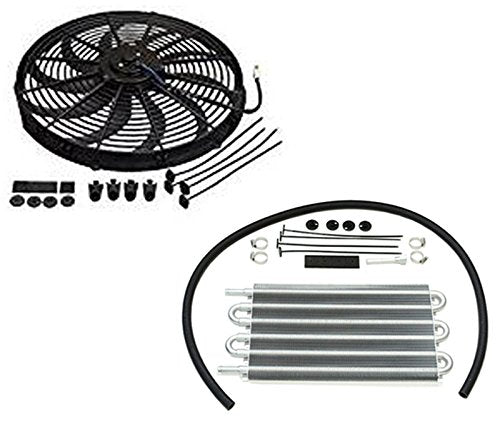 "16"" Electric Curved S Blade Radiator Cooling Fan & 15-1/2"" x 7-1/2"" x 3/4"" Transmission Oil Cooler"