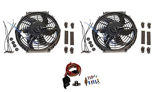 "2 Sets 10"" Electric Curved Blade Reversible radiator Cooling Fans 12V 80W 850 CFM with Heavy DutyThermostat Kit"