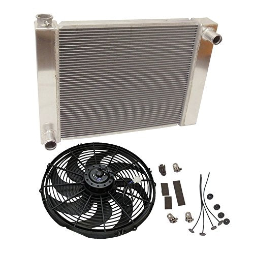 "For Ford/Mopar Fabricated Aluminum Radiator 27.5"" x 19"" X 3"" Overall W/ 16 Inch Electric Fan"