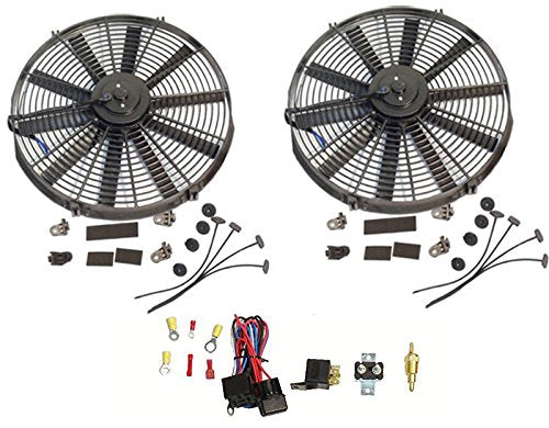 "2 Sets Electric 14"" Straight Blade Reversible Cooling Fan 12V 1900 CFM with Thermostat Kit"