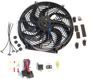 "14"" Electric Heavy Duty Radiator Reversible Fan with Thermostat Kit"