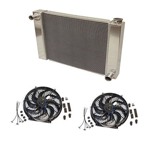 "Fabricated Aluminum Radiator 30"" x 19"" x3"" Overall With 2pcs 14 Inch Electric Fan"