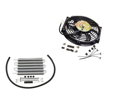 "Electric Curved 10"" radiator Cooling fan 12V 80W 850 CFM &Transmission Oil Cooler"