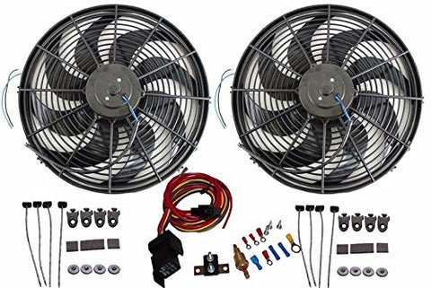 "2pcs 14"" Heavy Duty Electric Wide Curved Blade Fan Reversible /Thermostat"
