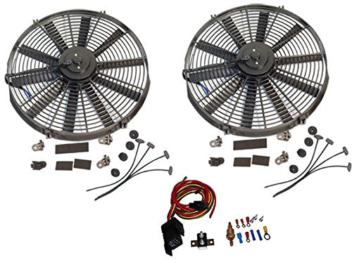 "2 Sets Electric 14"" Straight Blade Reversible Cooling Fan 12V 1900 CFM with Heavy DutyThermostat Kit"