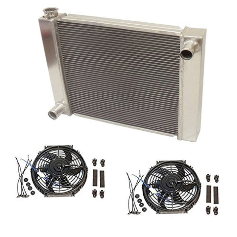 "Universal Ford / Mopar Fabricated Aluminum Radiator 28"" x 19"" x3"" Overall With 2pcs 10 Inch Electric Fan"
