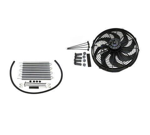 "16"" Heavy Duty Radiator Electric Wide Curved Blade Fan & 15-1/2"" x 10"" x 3/4"" Transmission Oil Cooler"