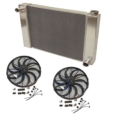"24"" x 19"" x 3"" Overall Radiator For SBC BBC Chevy GM With 2pcs 12 Inch Electric Fan"