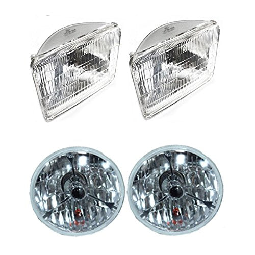 "5 3/4"" Black Dot Tri bar H4 Headlights With 4x6"" Sealed High/Low Beam Glass Head Lamps Bulbs Set of 4"