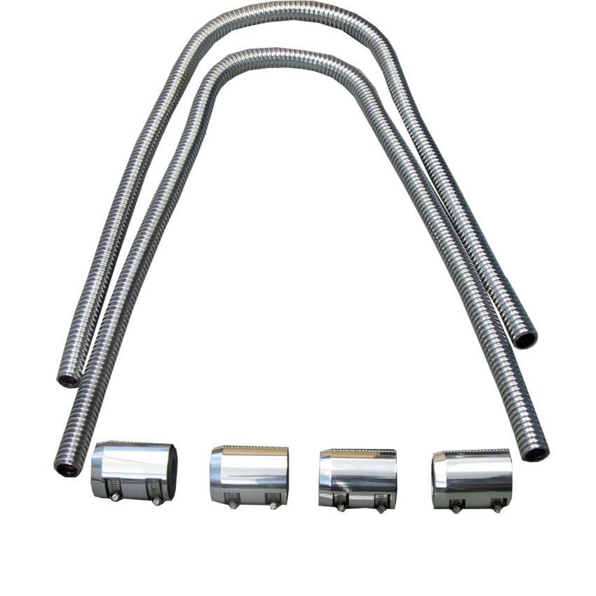 "44"" Chrome Stainless Heater Hose W/ Chrome Caps Universal"