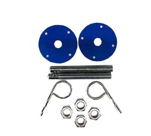 Universal Hood Pin Set With Blue Scuff Plate