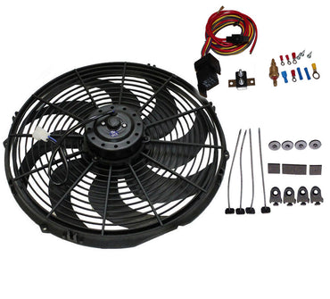 "12"" Electric Curved Blade Reversible Cooling Fan 12v 1400cfm & Thermostat Kit"