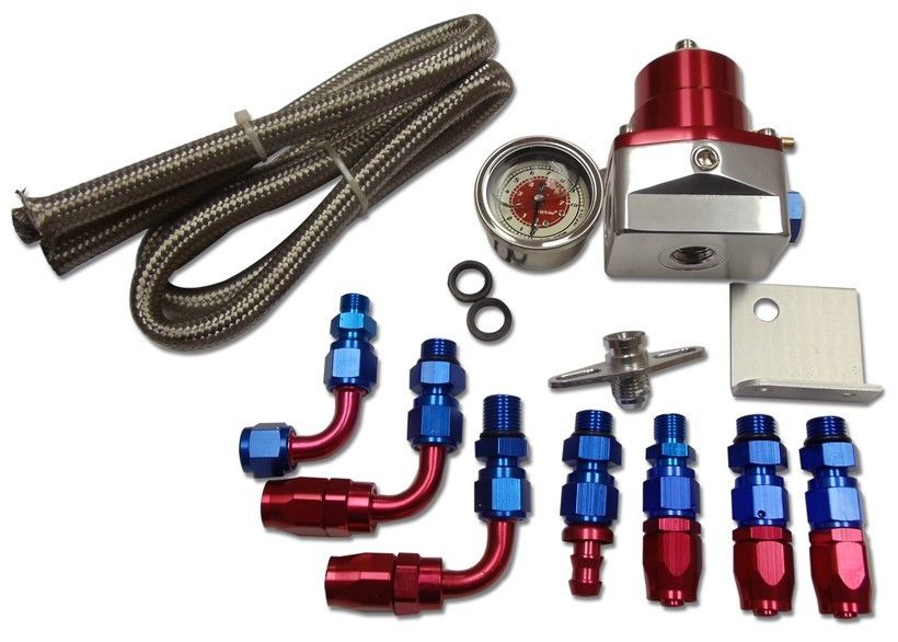 New Billet Fuel Pressure Regulator,Gauge,Oil Line,with Fittings,Red