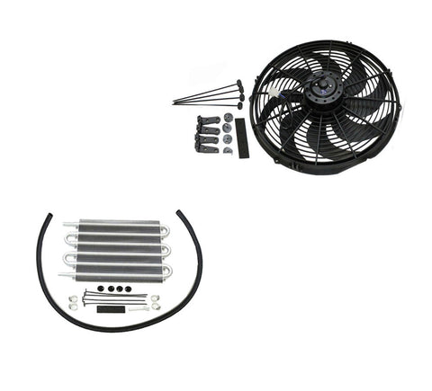"16"" Heavy Duty Radiator Electric Wide Curved Blade Fan & 12-3/4"" x 7-1/2"" x 3/4"" Transmission Oil Cooler"