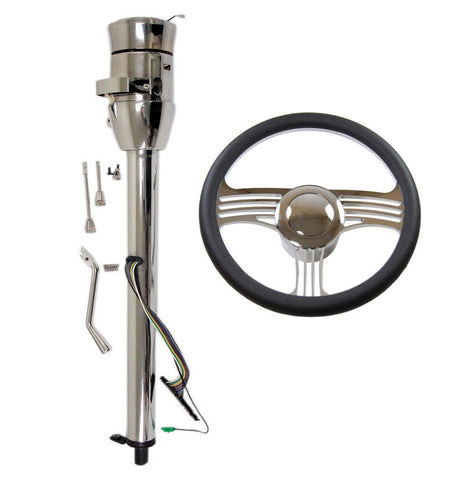 "14"" Chrome Billet Universal Style Steering Wheel & Auto Column 28""GM No Key with Adapter & Horn Button"