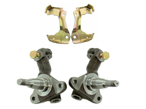 Chevy 1967-69 Camaro 1968-72 Chevelle A-Body Forged Front Spindles Stock Height & GM Caliper Brackets