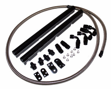 GM Chevy Billet Aluminun LS1 LS6 Intake Fuel Rails Kit black